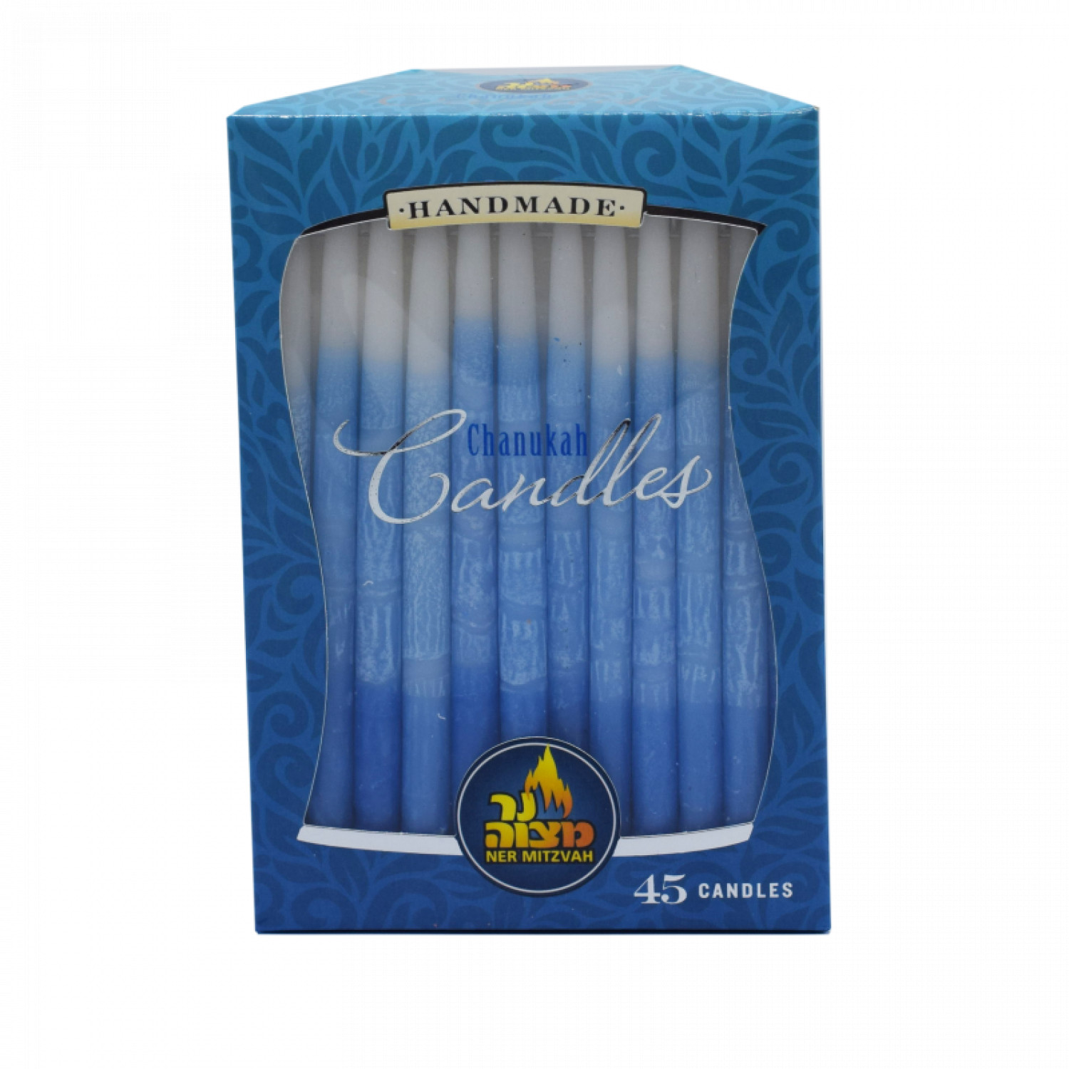 Decorated Chanukah Candles BLUE and WHITE 45 pk.