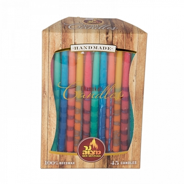 Decorated Beeswax Chanukah Candles 45 pk.