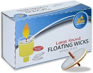 Large Round Floating Wicks 50 Pk.